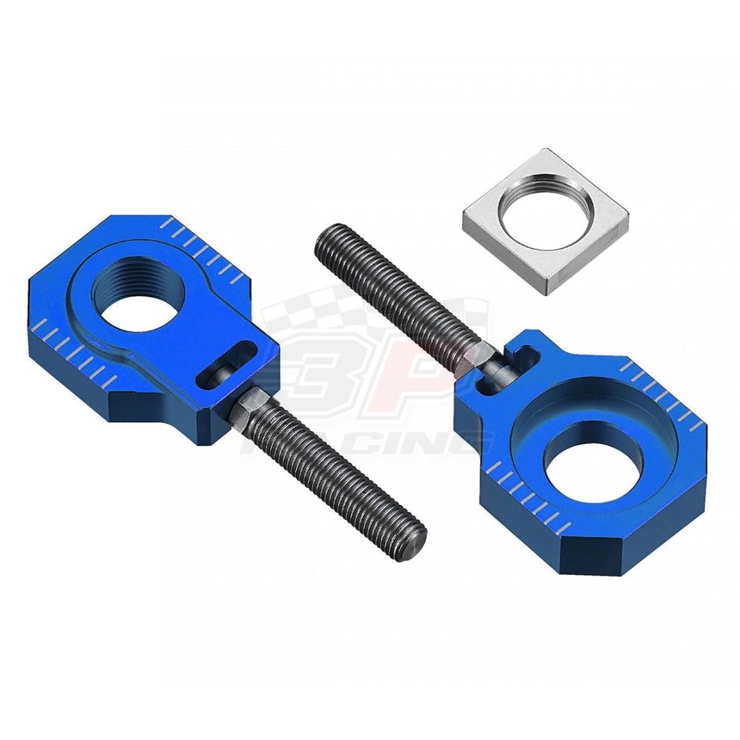 Accel CNC Dirt bike Blue chain tensioners - adjusters axle blocks Lollipop type AC-AB-29-BLUE for Husqvarna TC85 2014-2020, KTM SX85 2003-2020, Freeride250 250R 250F, Freeride350. Husqvarna OEM 47010085044 70010085044 70010084000. P/N: AC-AB-29-BLUE.