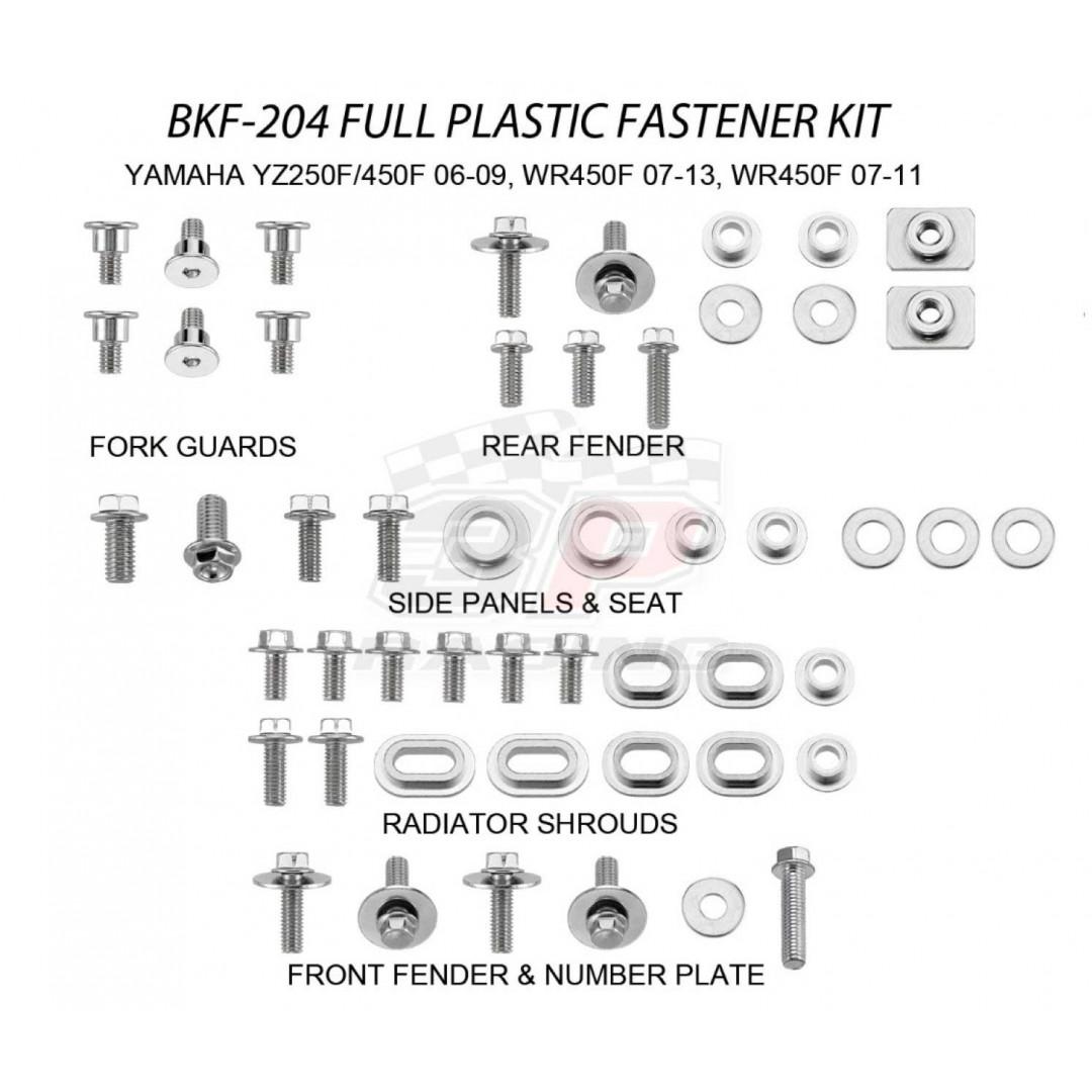 Accel πλήρες κιτ βίδες για πλαστικά AC-BKF-204 Yamaha YZF 250, YZF 450 2006-2009, WRF 250 2007-2013, WRF 450 2007-2011