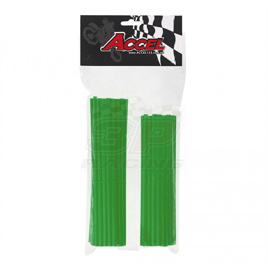 "Give your bike a refreshing stylish look with this coloured Green wheel spoke skin set ! Includes 38pieces of 8.5"" length skins and 38pieces of 7.5"" length skins. For 18""-21"" rims. Wheel spoke colored wraps, covers,sleeves,coats,guards.P/N: AC-SS-101-GR"