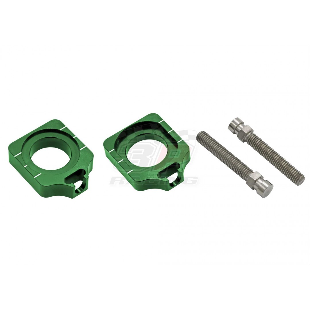 Accel CNC Dirt bike Green chain tensioners - adjusters for Kawasaki KX250F KX 250F KXF250 2017-2020, KX450F KX 450F KXF450 2016-2020. Kawasaki OEM Rear wheel Tensioner 33040-0050 33040-0080
