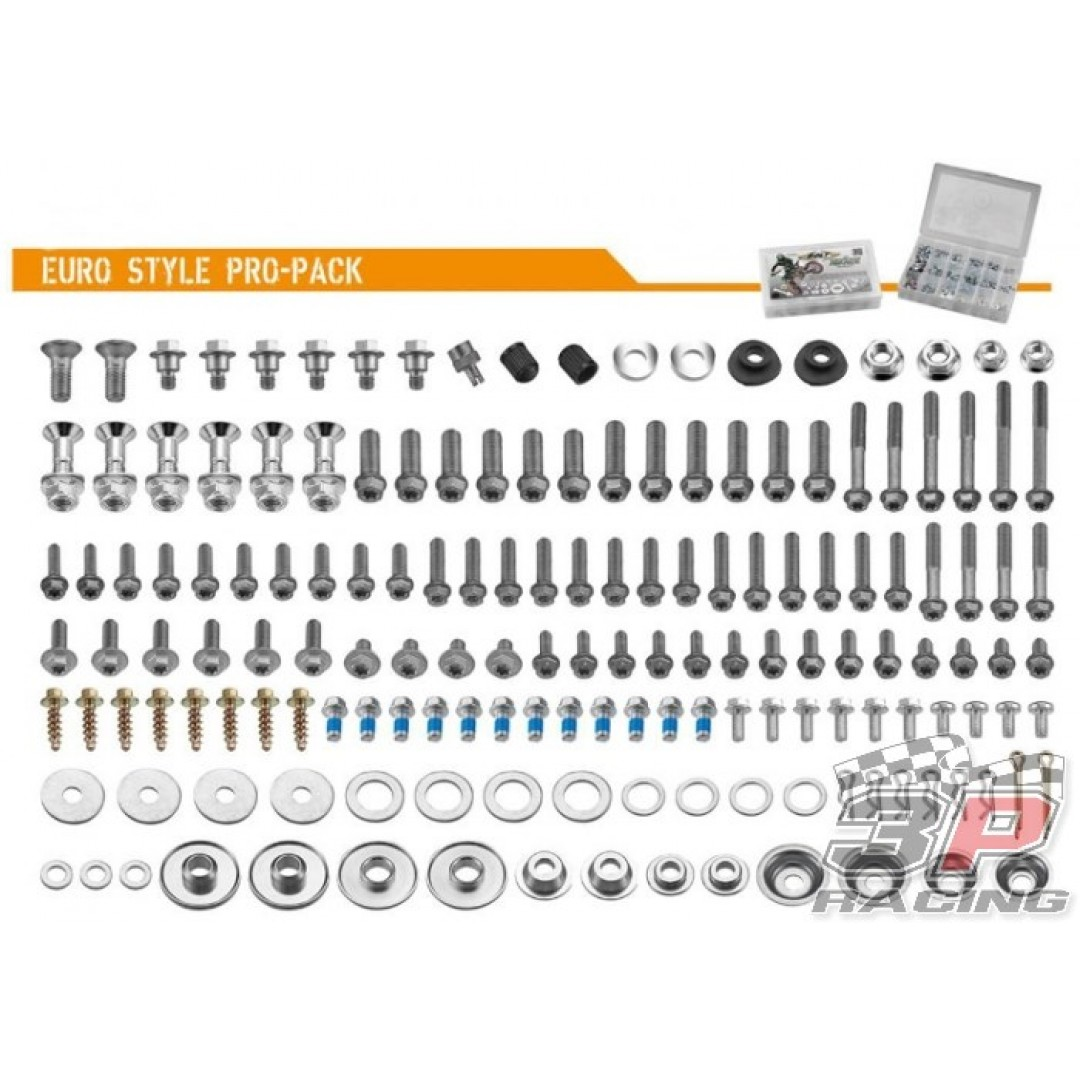 Accel Euro style PRO pack. Kit includes all bolts, nuts & spacers for European motocross & enduro bikes, like KTM SX SX-F & EXC EXC-F 125 200 250 300 350 450 500 520 525 530 , Husaberg Husqvarna TE TC 125 250 300, FE FC FS 250 350 390 450 501 550 570 650