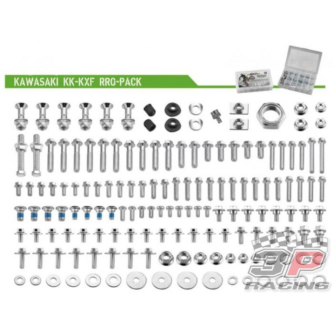 Accel Kawasaki style PRO pack. Kit includes all bolts, nuts & spacers for Kawasaki KX125 KX250 KXF250 KX250F KXF250 KX450F KXF450 KLX450R KLX450 motocross & enduro bikes. P/N: AC-BKP-05.