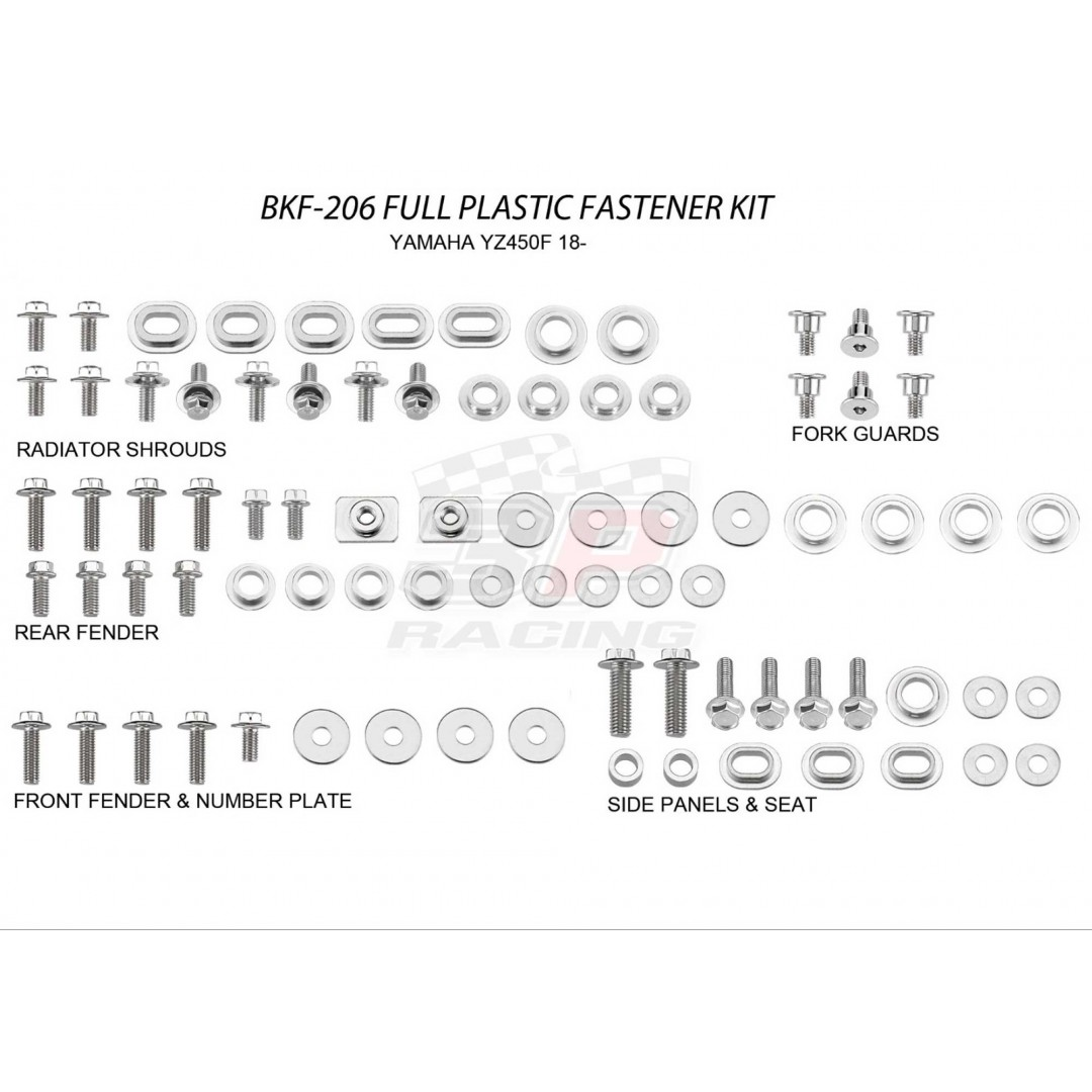 Accel complete plastics parts bolts kit AC-BKF-206 for Yamaha YZ 450F YZ450F YZF450 2018-2019, YZ 250F YZ250F YZF250 2019. Bolts, nuts & spacers for front & rear fender,number plate,radiator shrouds,side panels & seat,fork guards. AC-BKF-206