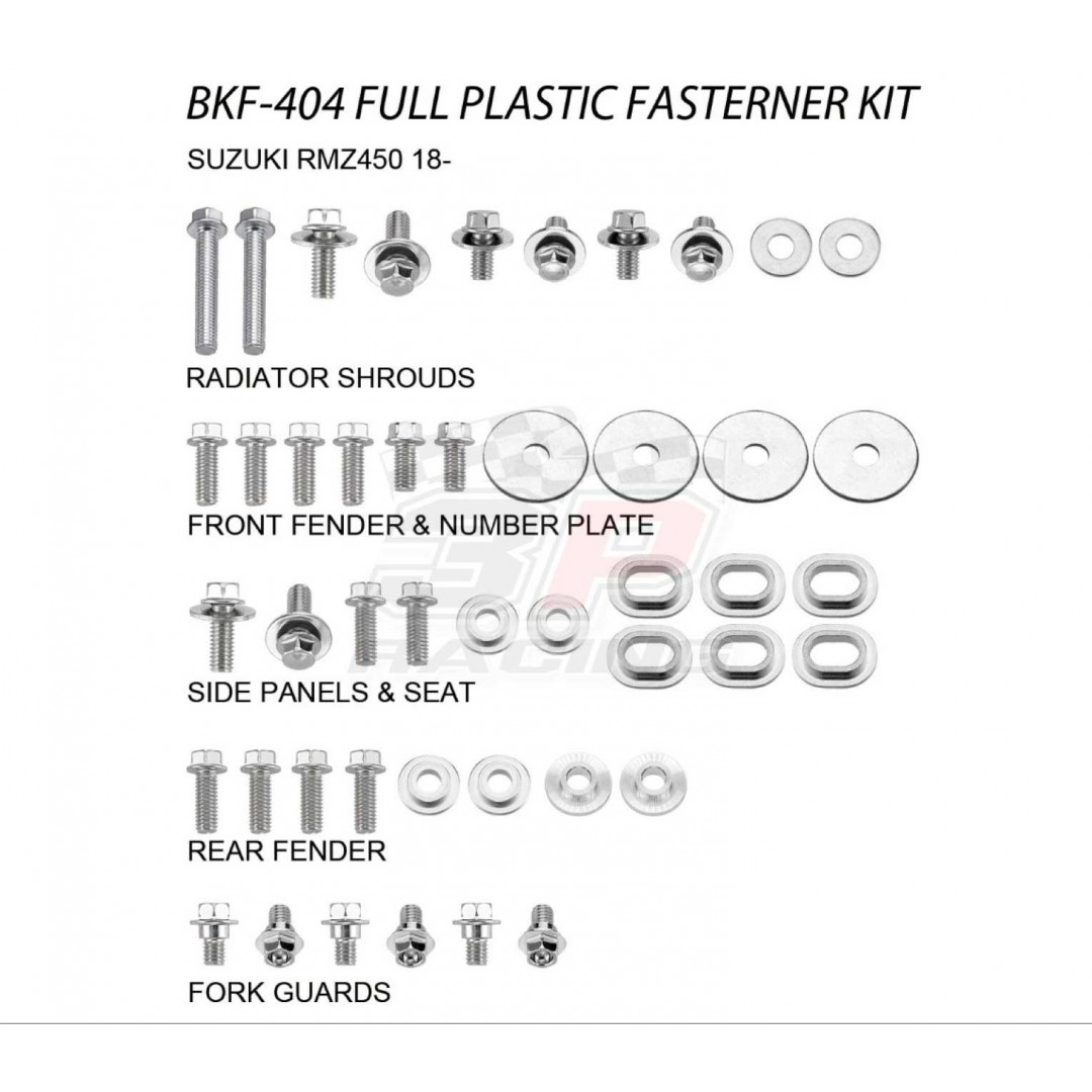 Accel full plastic fastener bolt kit for Suzuki RMZ450 RM-Z450 2018-2019. Kit includes bolts, nuts & spacers for front fender & number plate, radiator shrouds, side panels & seat, fork guards, rear fender. AC-BKF-404