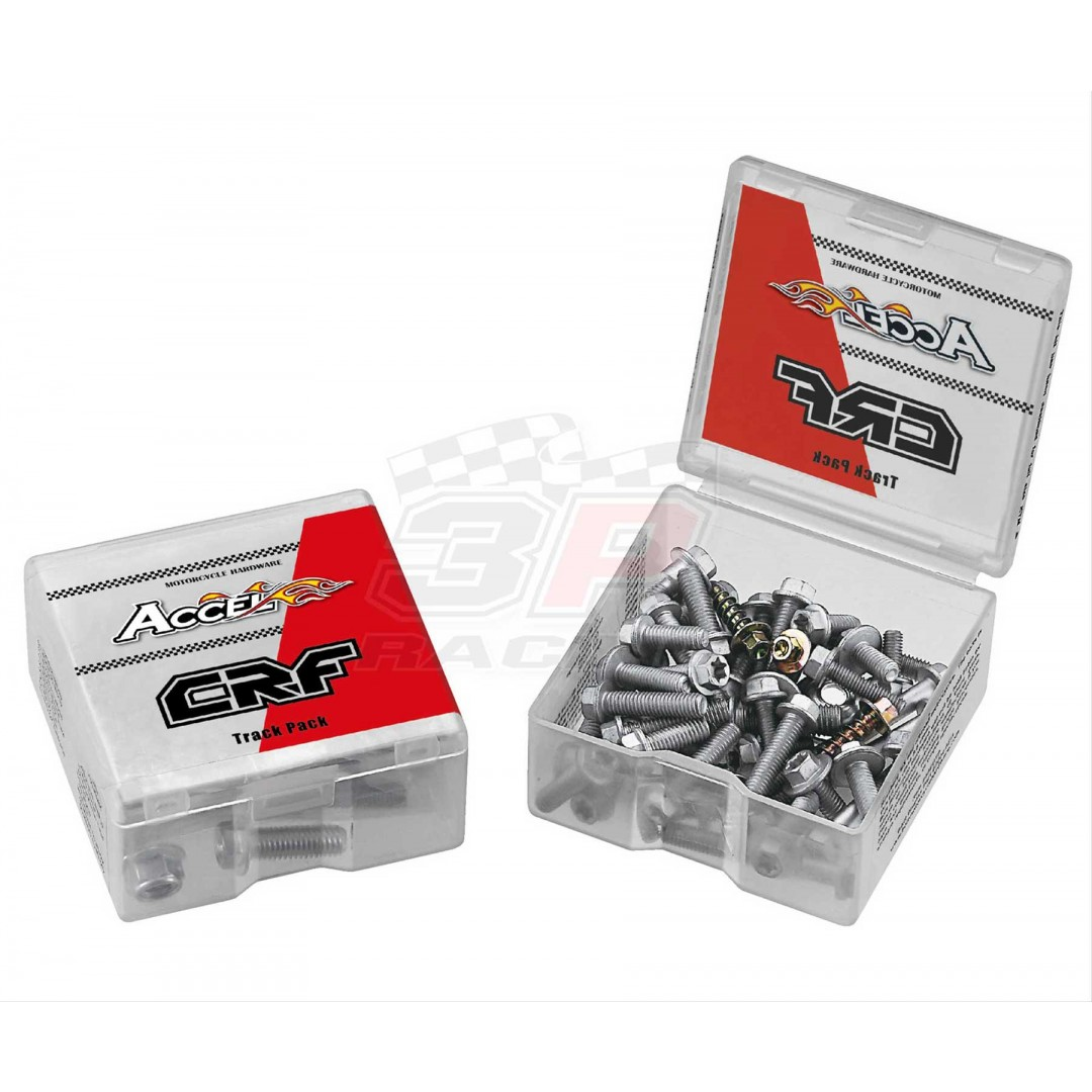 Accel Honda style TRACK pack. Kit includes 50 pieces of bolts,nuts & screws for Honda CR125 CR250 CRF150 CRF230 CRF250 CRF250R CRF250X CRF450 CRF450R CRF450X CRF450RX motocross & enduro bikes. P/N: AC-BKT-03.
