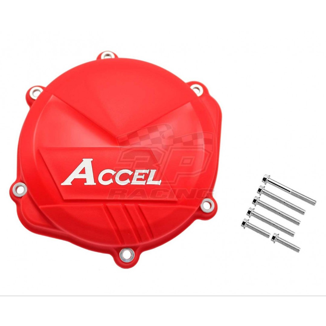 Clutch cover protector made of strong plastic, suitable for Honda CRF250R CRF250 2018-2020, CRF250RX 2019-2020. Prevents damage to the cover by crashing or falling. Supplied with extended fastening screws. Color: Red. P/N: AC-CCP-104-RD