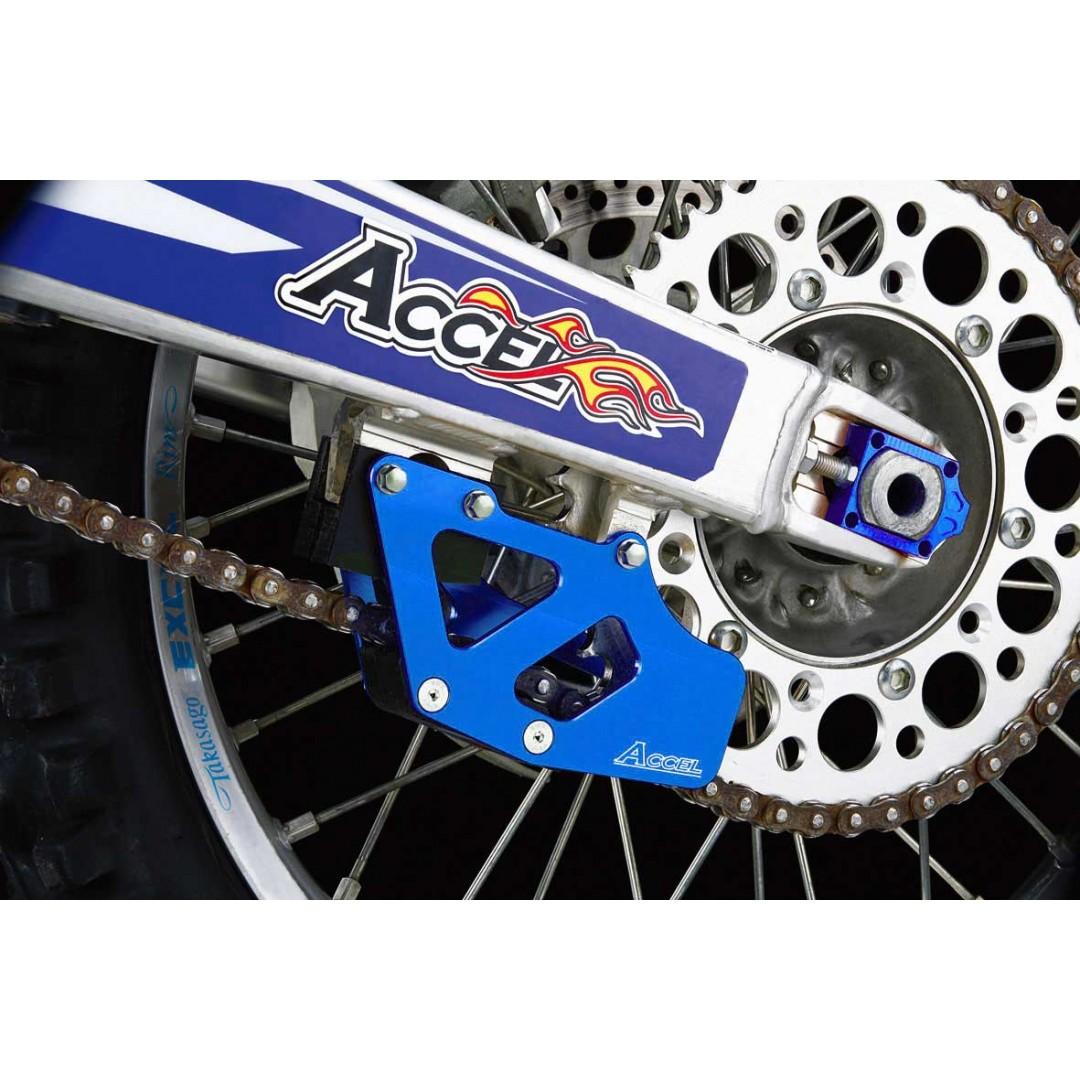 Accel CNC & Anodized metallic Blue chain guide guard for Husqvarna 2014-2020 TC125 TC250 TC250i TX300 FX350 FX450 FS450 FC250 FC350 FC450, Fits KTM SX SX-F XC-F 2007-2020. P/N: AC-CG-13-Blue.