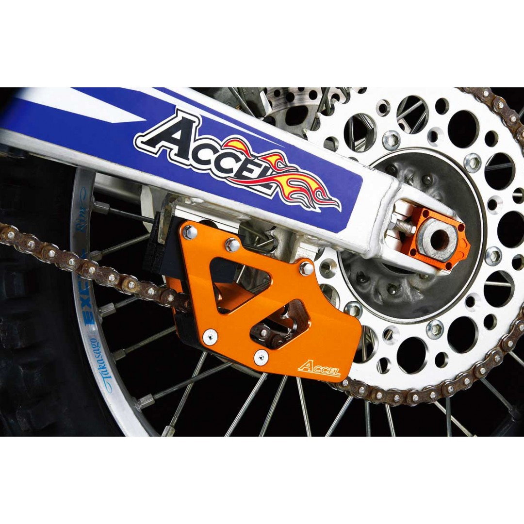 Accel CNC & Anodized metallic Orange chain guide guard for KTM SX125 SX144 SX150 SX250 SXF250 SX-F250 SXF350 SX-F350 SXF450 SX-F450 SXF505 SX-F505 XCF450 XC-F450 XCF505 XC-F505, Husqvarna TC TX FX FC. P/N: AC-CG-13-ORANGE.
