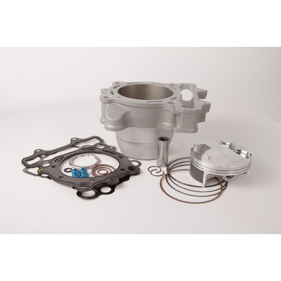 CylinderWorks 41004-K02 BigBore 269cc +3mm Nikasil cylinder kit with VerteX overbore piston 13.5:1 and top end gasket set with 80.00mm diameter for Suzuki RMZ250 RM-Z250 RM-Z 250 2013 2014 2015 2016 2017 2018 2019. OEM cylinder 11211-49H10-0F0, 11211-49H0