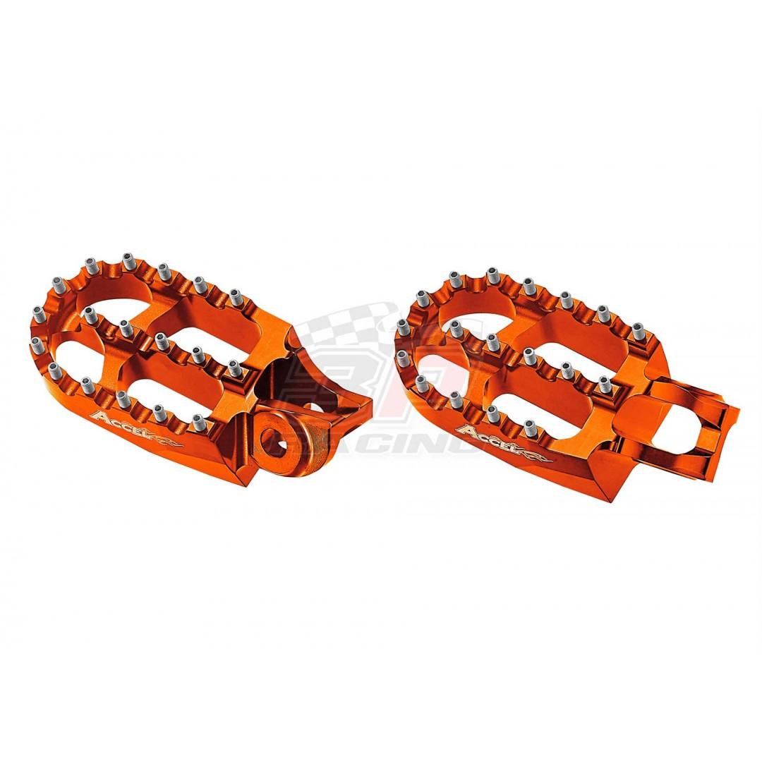 Accel CNC footpegs Orange AC-FP-19-OR OEM 79603040033 79603040000 79603041000 KTM 2017-2020 EXC 125, EXC 250, EXC 300, EXC-F 250, EXC-F 350, EXC-F 450, EXC-F 500, Fits Husqvarna TE FE 125-501 2017-2020