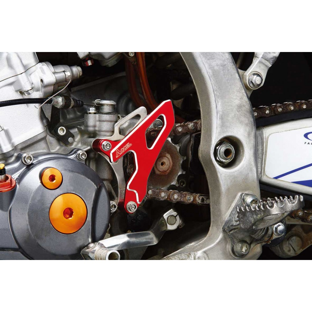 Accel CNC & Anodized Red front sprocket cover guard Honda 23810-MKE-A00 for CRF450 CRF450R CRF450RX 2017 2018 2019 2020. AC-FSC-19-RD. Designed to keep mud out of the front sprocket area. CNC machined, made from high quality aluminum alloy
