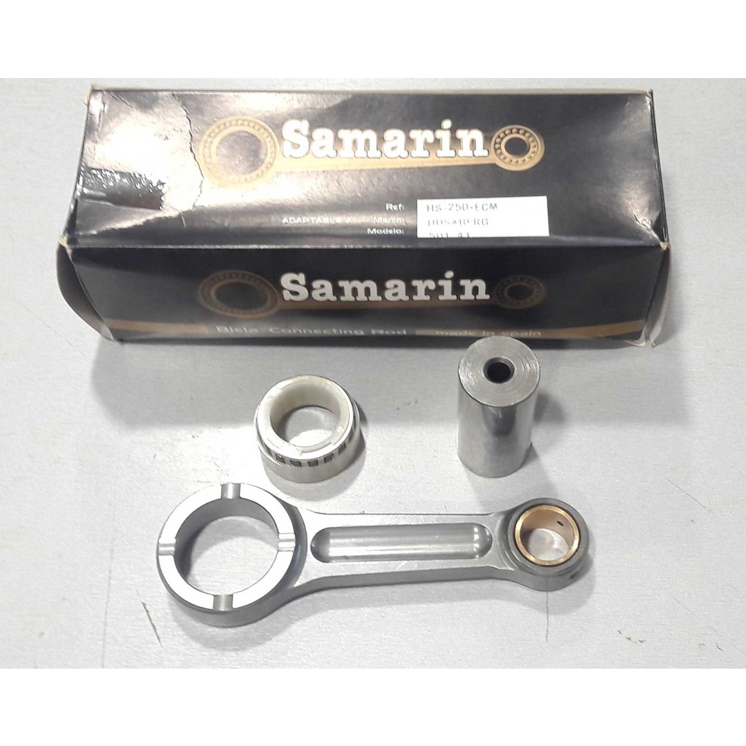 Samarin special plated connecting rod in steel Cr Ni Mo for Husaberg FE 501 1989-1993,Husaberg FC 501 1989-1993. P/N : HS-250ECM. Connecting rod kit includes : Special crank pin, reinforced silver plated GP type big end bearing and silver plated thrust wa