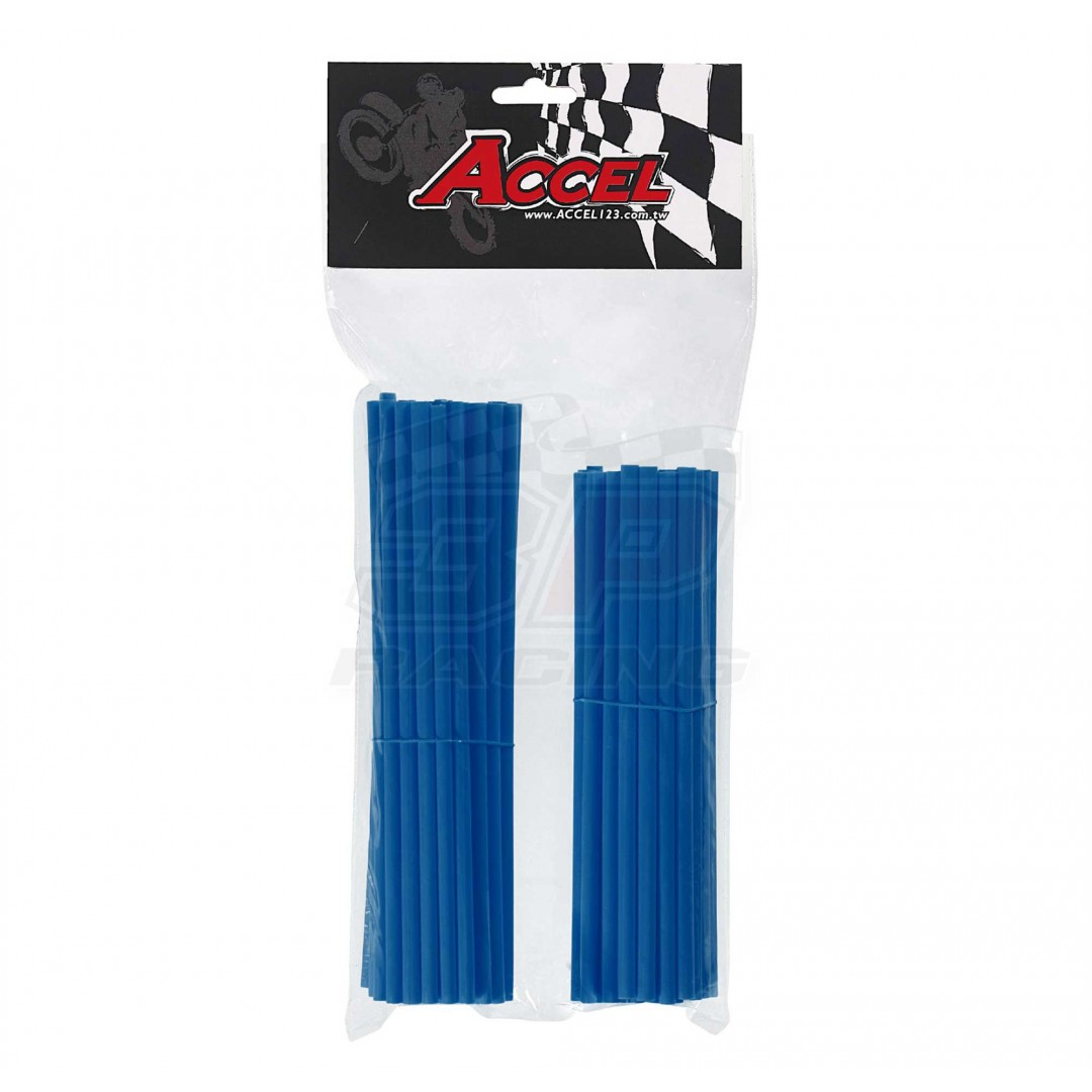 """Give your bike a refreshing stylish look with this coloured Blue wheel spoke skin set ! Includes 38pieces of 8.5"""" length skins and 38pieces of 7.5"""" length skins. For 18""""-21"""" rims. Wheel spoke colored wraps, covers, sleeves, coats, guards.P/N: AC-SS-101-BL"""