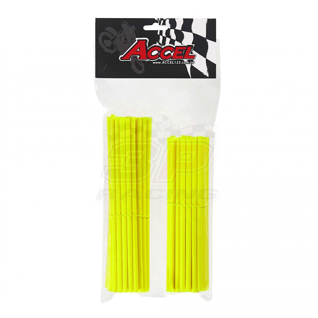 "Give your bike a refreshing stylish look with this coloured Neon-Yellow wheel spoke skin set ! Includes 38pieces of 8.5"" length skins and 38pieces of 7.5"" length skins. For 18""-21"" rims. Wheel spoke colored wraps, covers,sleeves,guards.P/N: AC-SS-101-NYL"