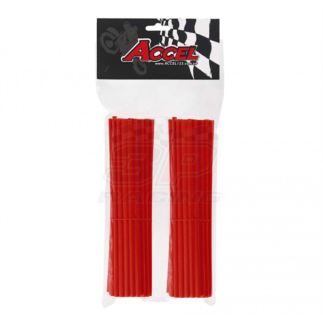 "Give your bike a refreshing stylish look with this coloured Red wheel spoke skin set ! Includes 76pieces of 8.5"" length skins. For 18""-21"" rims. Wheel spoke colored wraps, covers, sleeves, guards.P/N: AC-SS-102-RD"