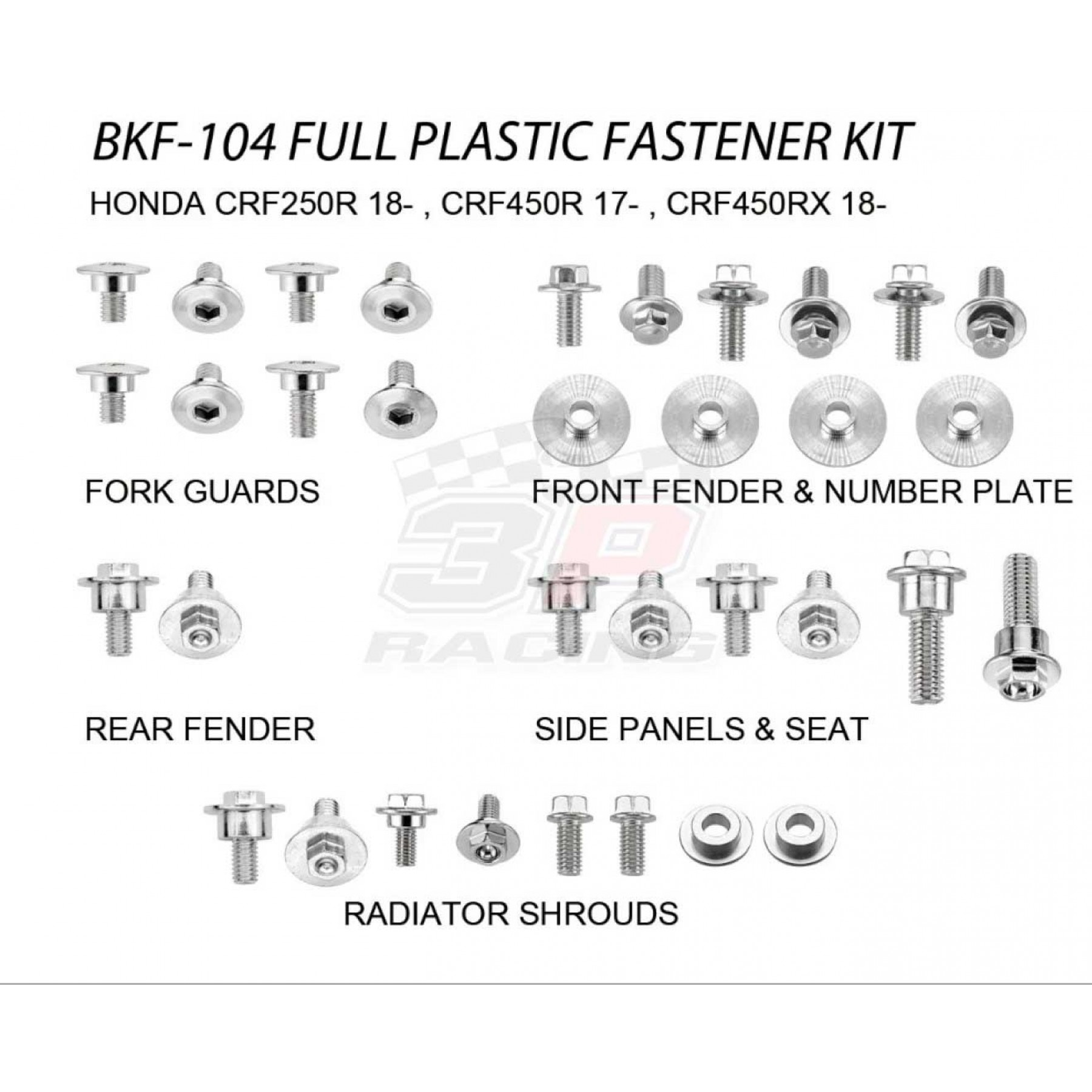 Accel complete plastic parts fastener bolts kit for Honda CRF250 CRF250R 2018-2020, CRF450 CRF450R 2017-2020, CRF450RX 2018-2020. Bolts, nuts & spacers for front fender,number plate,radiator shrouds,side panels & seat,fork guards,rear fender.AC-BKF-104