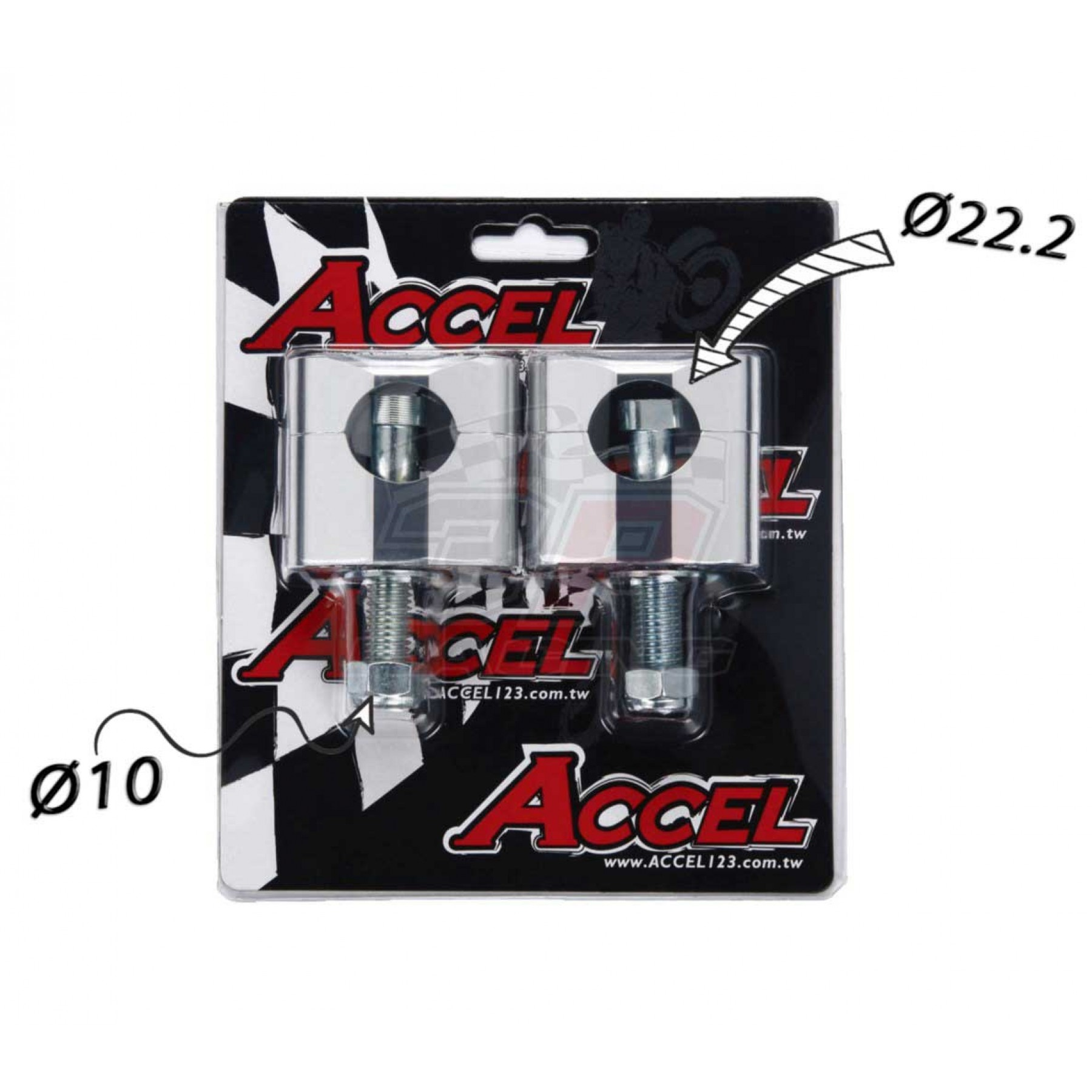 Accel Universal motorcycle handlebar CNC riser kit for 34mm raised height with 10mm bolt. Silver color. For all bikes with 22.2mm bar. P/N: AC-BM-02-22-SR. CNC machined. Bar bore: 22.2mm. Raiser height: 34mm