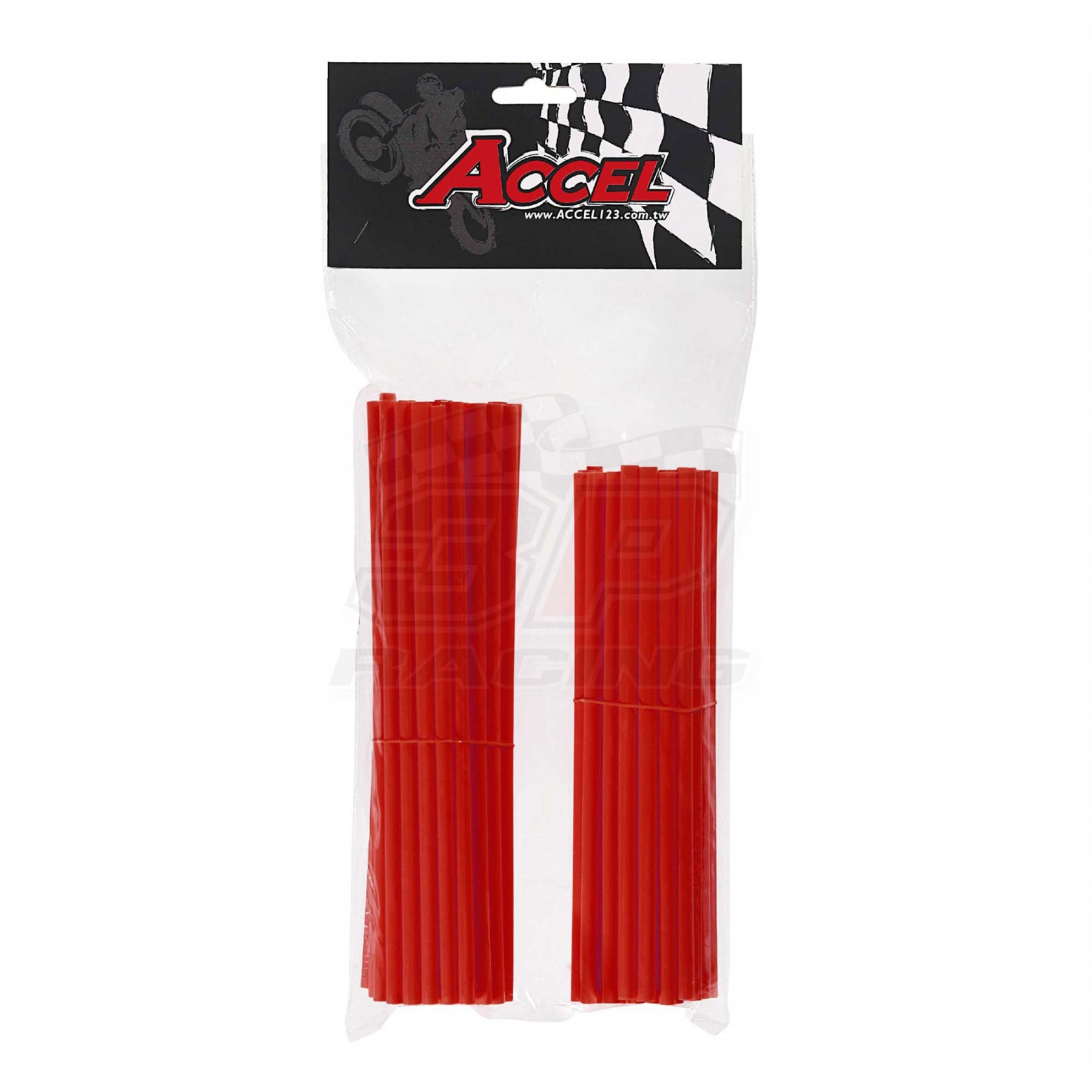 """Give your bike a refreshing stylish look with this coloured Red wheel spoke skin set ! Includes 38pieces of 8.5"""" length skins and 38pieces of 7.5"""" length skins. For 18""""-21"""" rims. Wheel spoke colored wraps, covers,sleeves,guards.P/N: AC-SS-101-RD"""