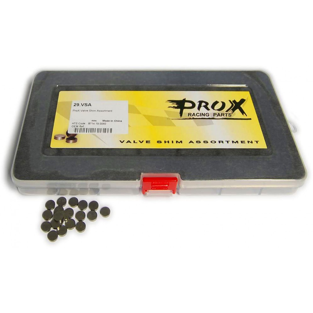 ProX Valve shims are made of premium materials. 10.00mm diameter - Includes three valve shims in each size between 1.875 and 3.175mm in .05mm increments. 81 shims in total. (example: 1.875mm, 1.925mm, 1.975mm, 2.025mm, 2.075mm etc). P/N: 29.VSA1000-2