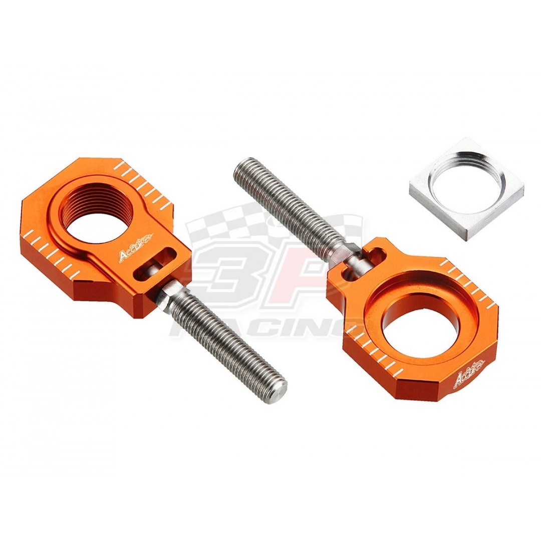 Accel CNC Dirt bike Orange chain tensioners - adjusters axle blocks Lollipop type AC-AB-27-NL-OR for 2013-2020 KTM SX125 SX150 SX250 SX-F250 SXF250 SX-F350 SXF350 SX-F450 SXF450. KTM OEM 77710084000 77710085044. Fits Husqvarna TC FC FX FS 125 250 300 350