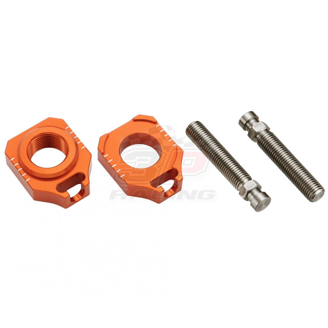 Accel CNC Dirt bike Orange rear wheel chain tensioners - adjusters AB-35 for KTM SX85 2015 2016 2017 2018 2019 2020, Freeride250 Freeride250R Freeride250F Freeride350, Husqvarna TC85 2015-2020. Swingarm tensioner KTM OEM 70010084000 70010085044