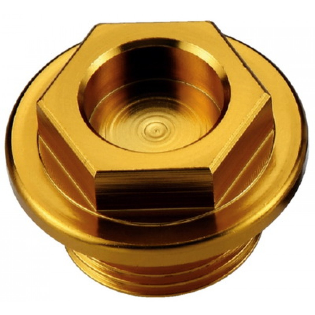 Accel oil fill plug for Honda CR 125/250/500, CRF 450R, Yamaha YZ 80/85/125/250, WRF 250/450, Blaster 200, YFZ 450, Raptor 350, Suzuki RM 60/65/100, Kawasaki KX 60/65/80/85/100/125/250/500, KDX 200/220, KLX 250/300  . P/N: AC-OFP-01-GD.-CNC machined.