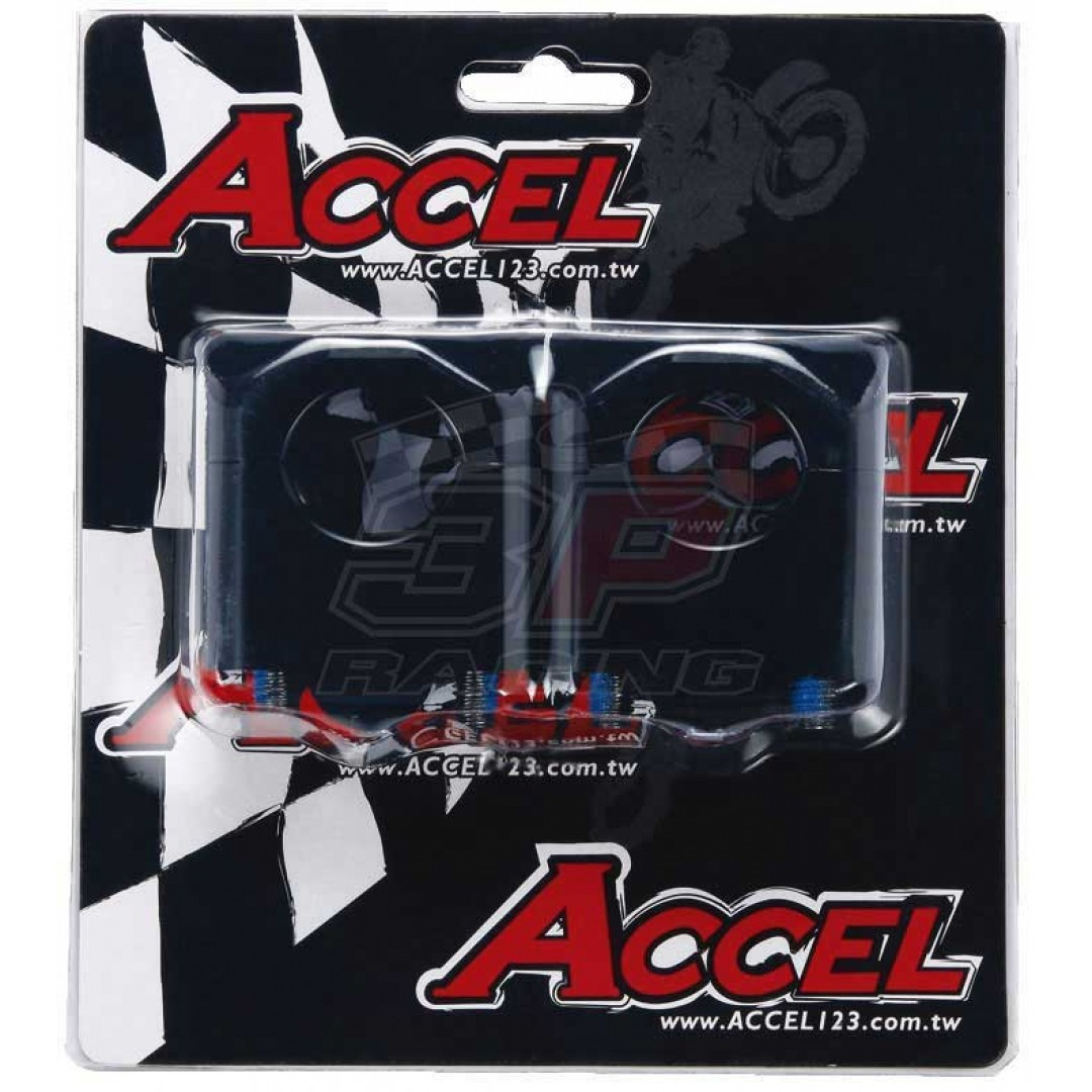 Accel CNC motorcycle handlebar risers - spacer & converter kit with 35mm height and conversion 22.2mm bar to 28.6mm fatbar. Black color. For all bikes - Universal. P/N: AC-BM-09-28.6BK. CNC machined. Bar bore: For 22.2mm to 28.6mm. Raised Height: 35mm