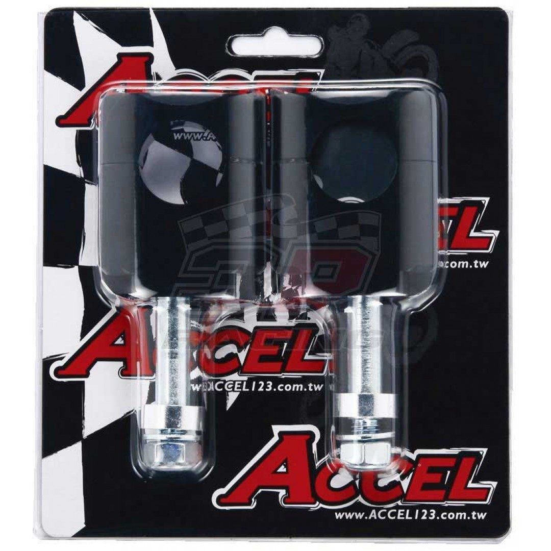 Accel Universal motorcycle handlebar CNC riser - spacer kit for 45mm raised height and 10mm bolt. For all bikes with 28.6mm fatbar - Universal. P/N: AC-BM-13-28-F10. CNC machined. 10mm bolt. Bar bore: 28.6mm taper bar. Raiser Height: 45mm
