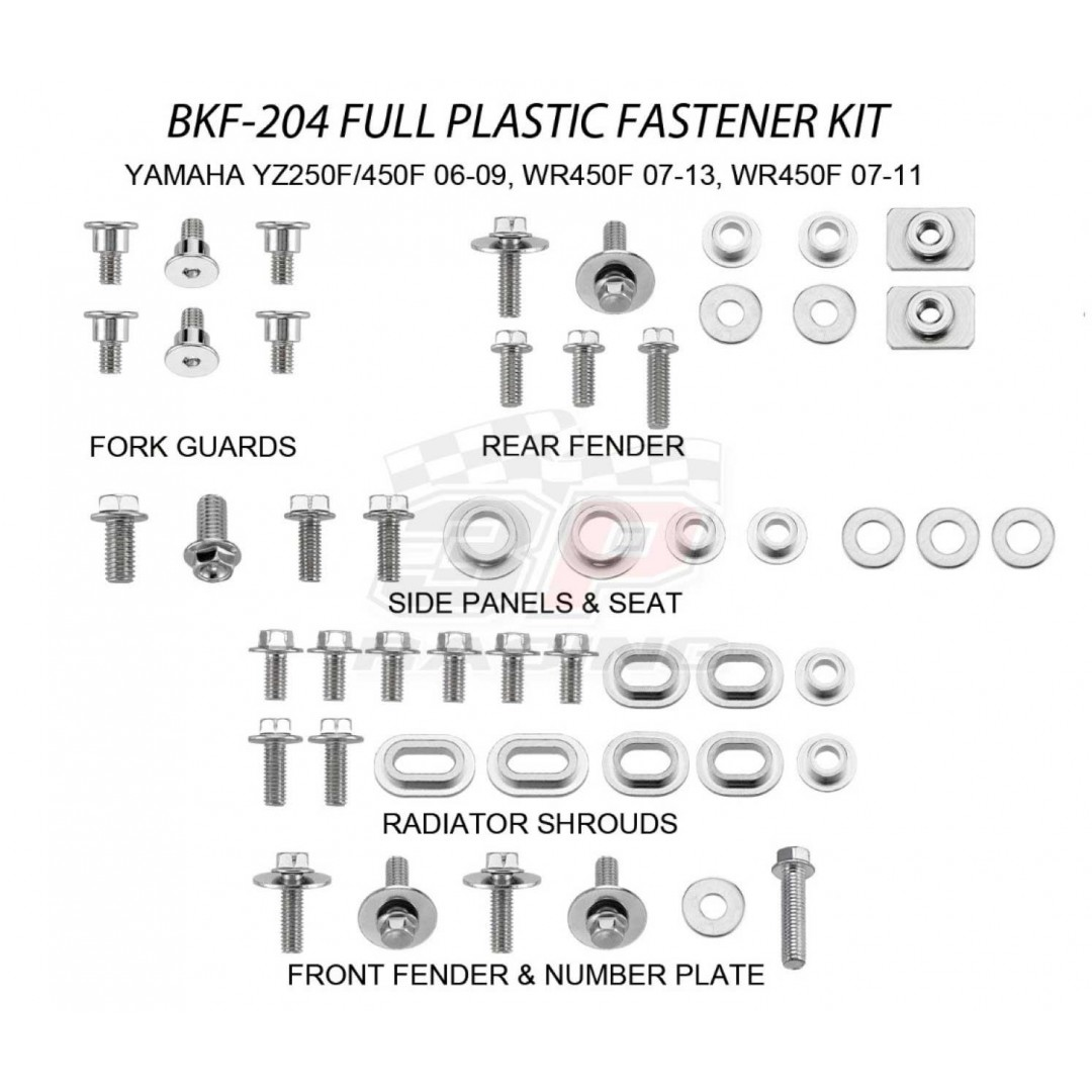 Accel complete plastics parts bolts kit AC-BKF-204 for Yamaha YZ250F YZF250, YZ450F YZF450 2006-2009, WR250F WRF250 2007-2013, WR450F WRF450 2007-2011. Bolts, nuts & spacers for front & rear fender,number plate,radiator shrouds,side panels & seat,fork gua