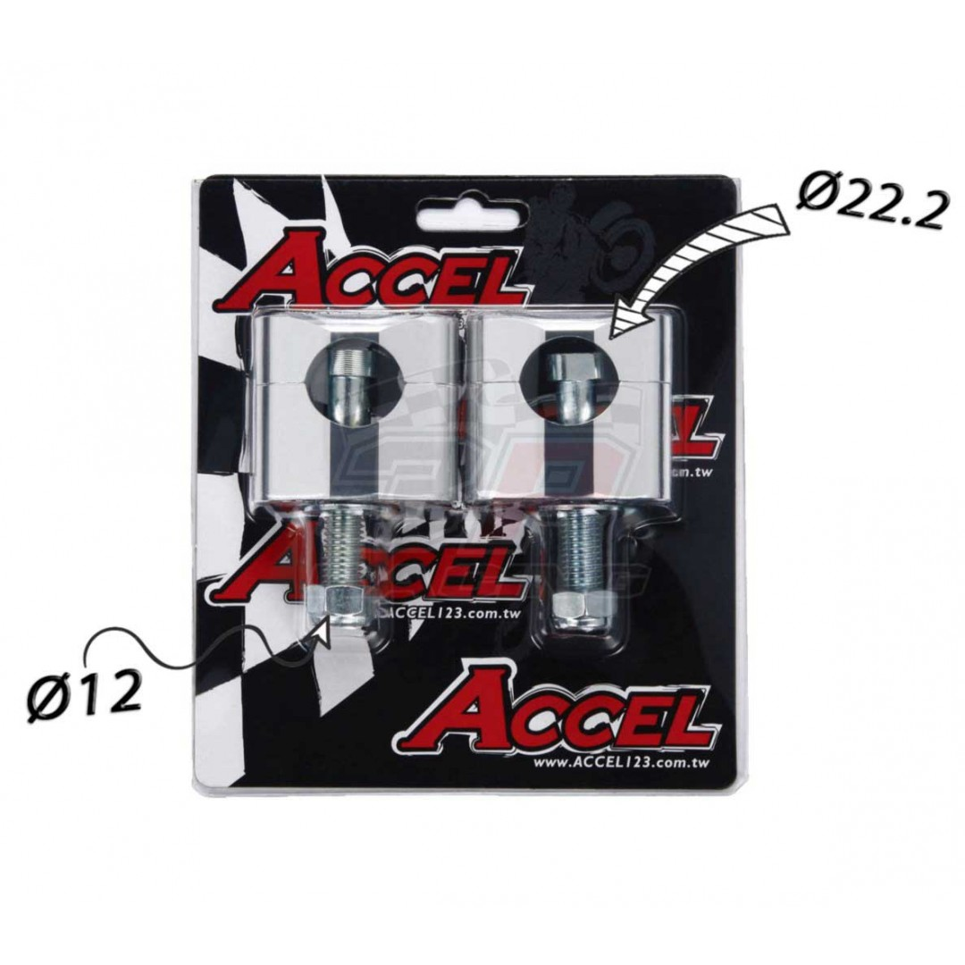 Accel Universal motorcycle handlebar CNC riser kit for 34mm raised height with 12mm bolt. Silver color. For all bikes with 22.2mm bar. P/N: AC-BM-02-22-SR2. CNC machined. Bar bore: 22.2mm. Raiser height: 34mm