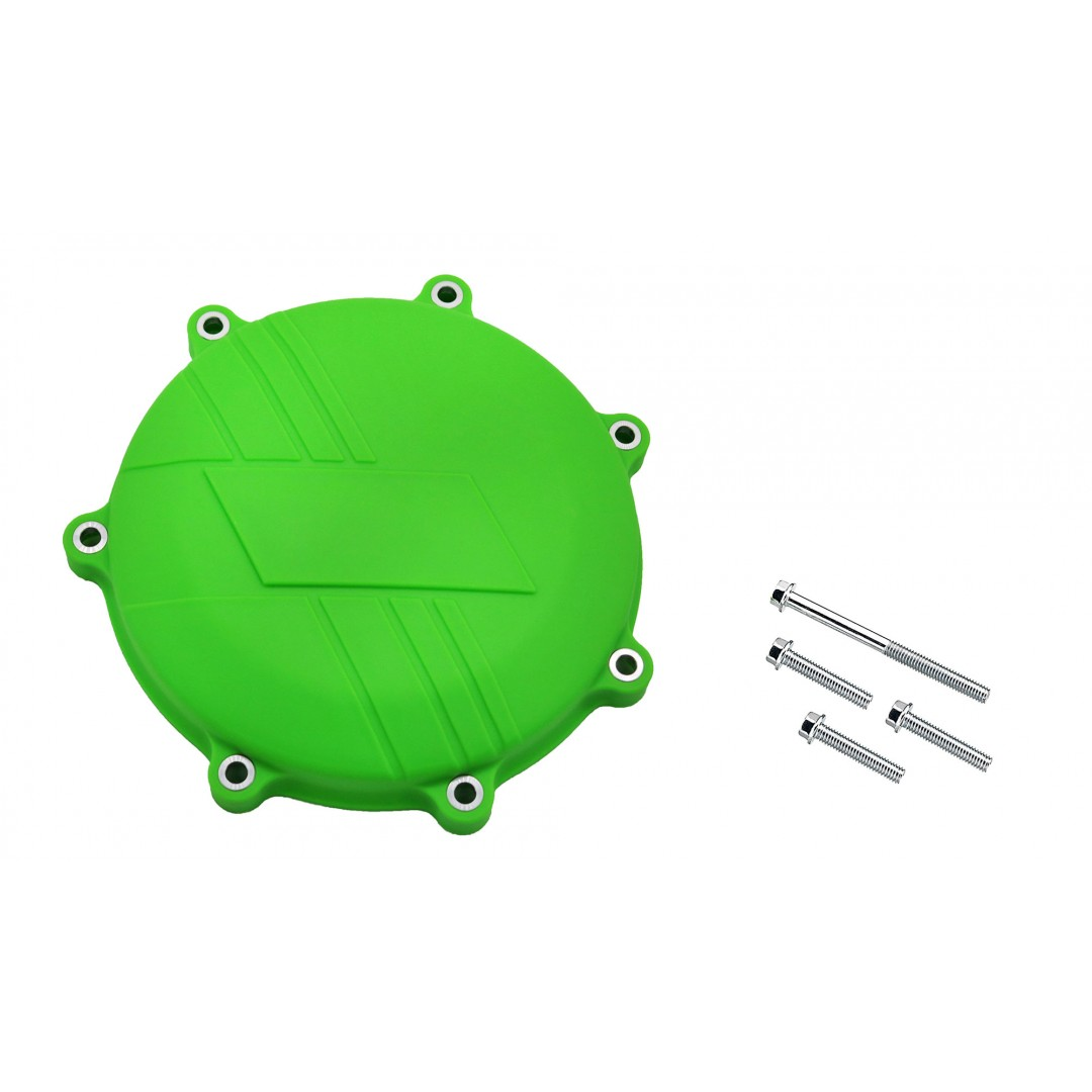 Clutch cover protector made of strong plastic, suitable for Kawasaki KXF450 KX450F KX 450F KX450 2019 2020. Prevents damage to the cover by crashing or falling. Color:Green.P/N: AC-CCP-305-GR