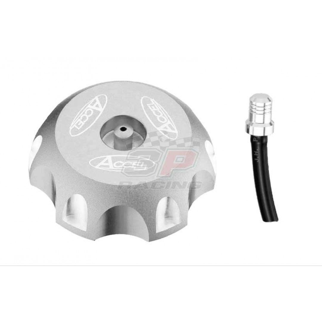 Accel gas tank cap Silver AC-GTC-01-SR Honda CRF 250 R X, CRF 450 R X, XR 200 250 600 650, TM EN MX 125 144 250 300 450 530