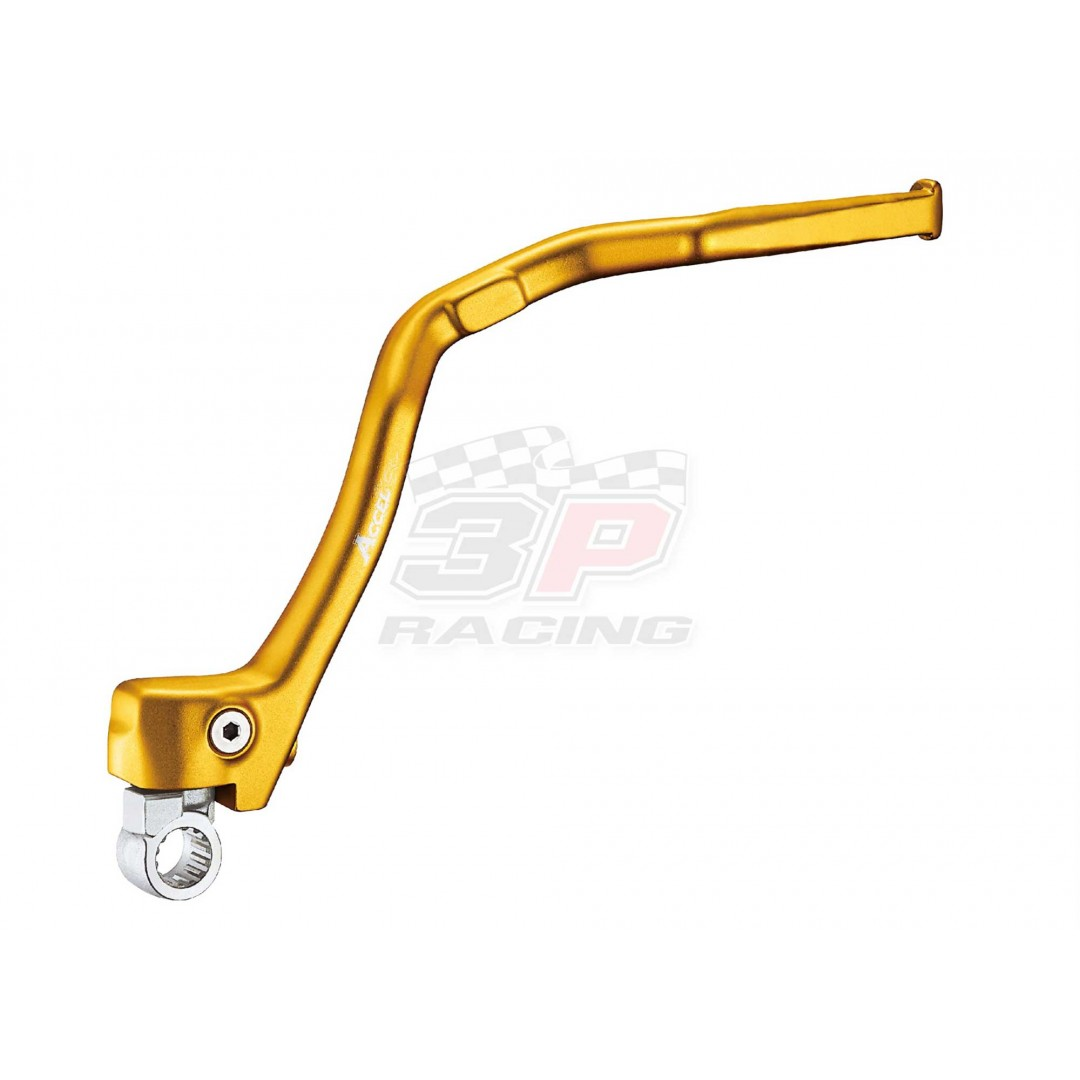 Accel KST-401 CNC Forged Gold Yellow kick start lever for Suzuki RM-Z250 RMZ250 2007 2008 2009 2010 2011 2012 2013 2014 2015. Kickstarter Suzuki OEM part 26300-49H00. Made by forged 7075 alluminum. Color: Gold. P/N: AC-KST-401-GD