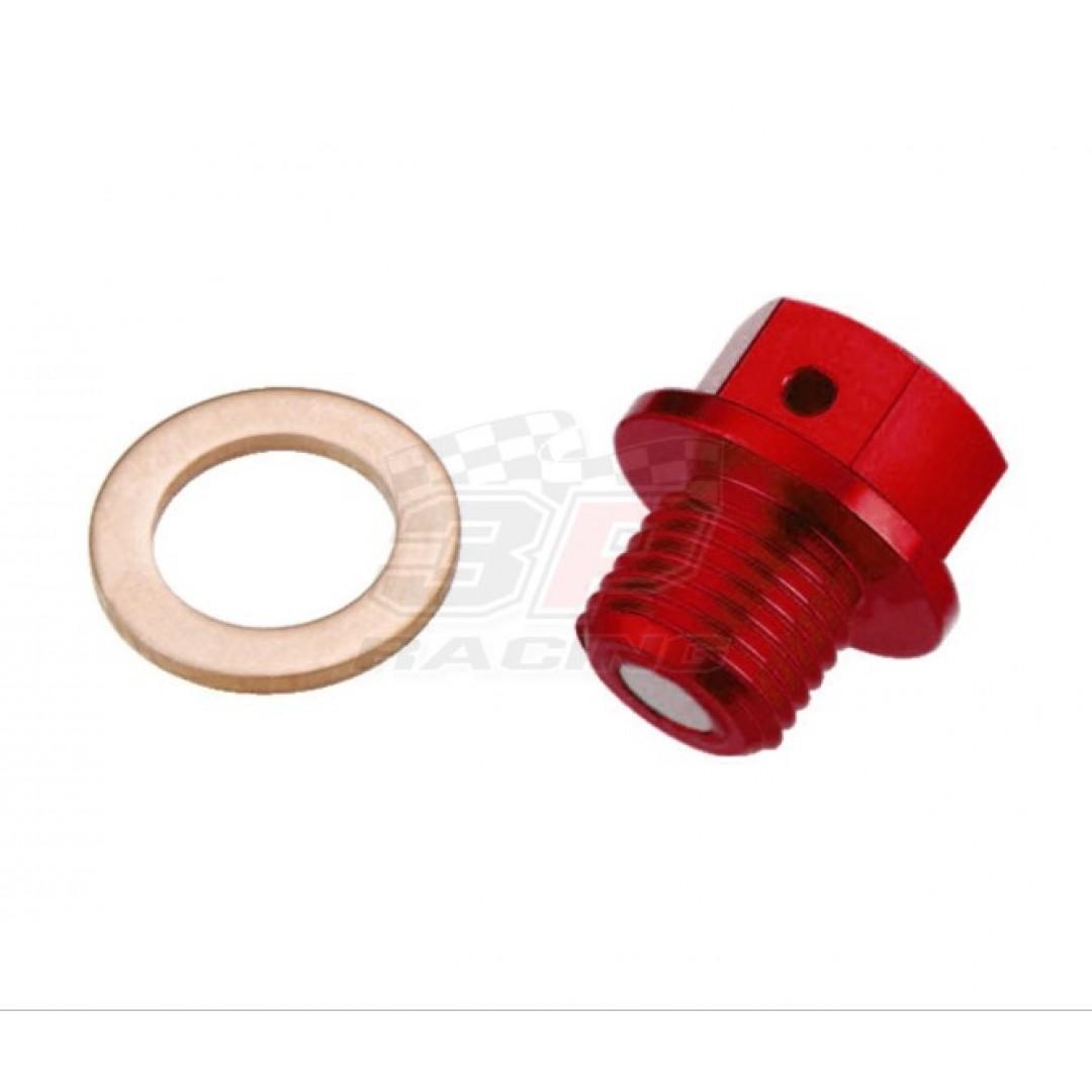 Accel CNC Red magnetic oil drain plug for Suzuki RM125 RM250 RMZ250 RM-Z250, DRZ70 DR-Z250 DRZ250 DR-Z400 DRZ400, ATV Suzuki LTZ400 LT-Z400 2003-2018, LT-Z250 LTZ250, LTA450 LT-A450 X XE KingQuad 2007-2015. Suzuki OEM 09247-12006 09247-12012 09247-12106