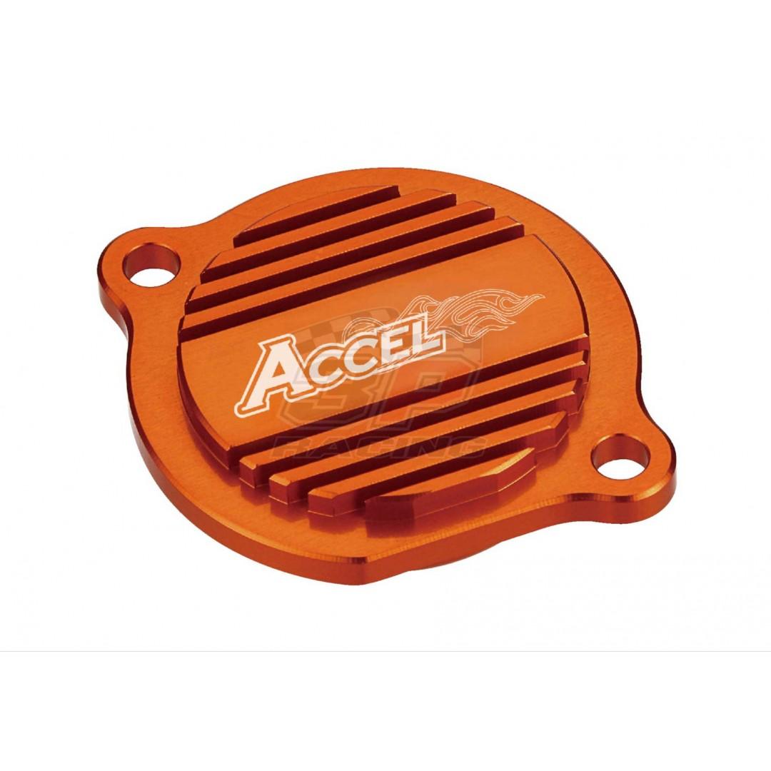 Accel oil filter cover Orange AC-OFC-01-OR 59038041000 KTM SX EXC 250 400 450 520 525, SX-F EXC-F 250, SMR 450 525 560, LC4 625 660 SXC SM, 950 990 Adventure, ATV XC 450 525, EXC250 EXC400 EXC450 EXC520 EXC525, SX400 SX450 SX520 SX525, SXF SX-F250, EXCF E