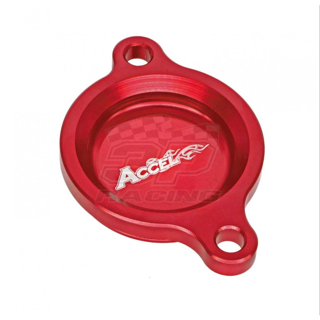 Accel CNC Red oil filter cover Honda OEM 11333-MKE-A00 fits CRF250 CRF250R CRF450 CRF450R CRF450X CRFX450 CRF450RX CRF450L 2017 2018 2019 2020. Made from high quality AL6061-T6 alloy. -More reliable than stock cover. P/N: AC-OFC-103-RD