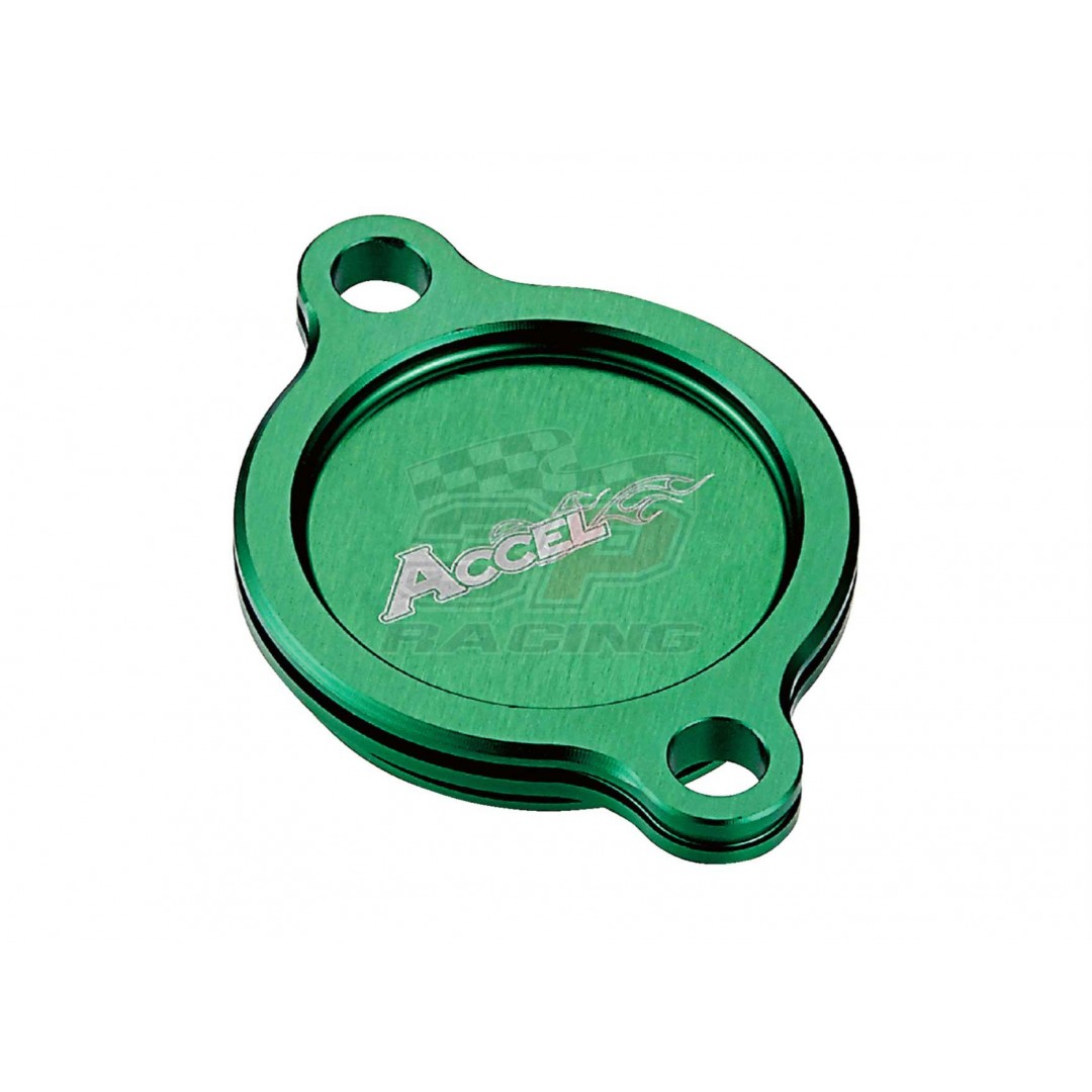 Accel CNC Green oil filter cover Kawasaki OEM 11065-0087 fits KXF250 KX 250F KX250F KXF 250 2005-2019. -CNC machined. -Made from high quality AL6061-T6 alloy -More reliable than stock cover. P/N: AC-OFC-301-GR