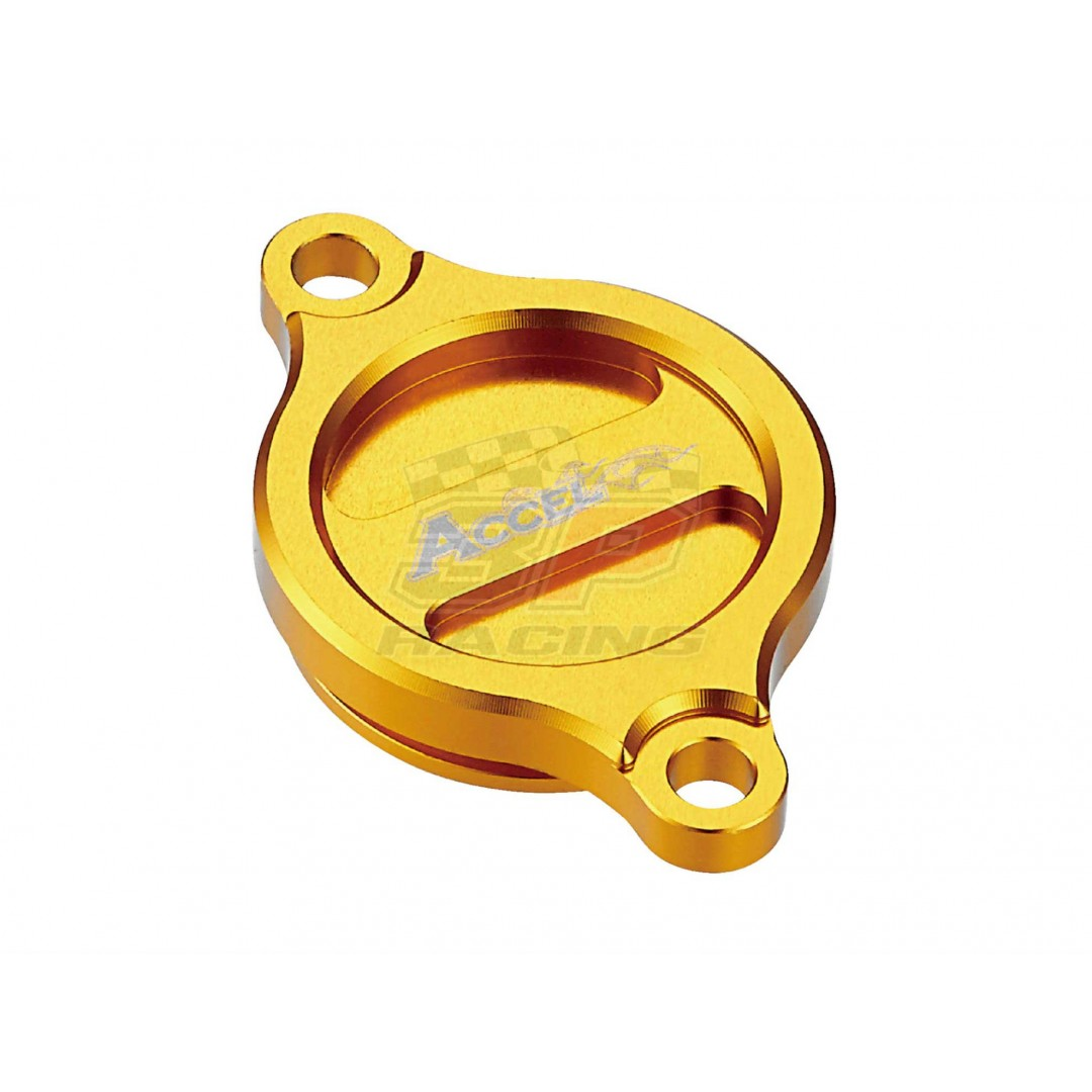Accel CNC Gold oil filter cover for Suzuki RM-Z 250 RM-Z250 RMZ250 2007-2019, RM-Z 450 RM-Z450 RMZ450 2005-2019, RMX450 RMX450Z 2010-2019.  Replaces Suzuki OEM parts: 16315-35G00, 16315-35G10, 16315-35G20, 16315-35G30, 16315-35G40. AC-OFC-401-GD Suzuki RM
