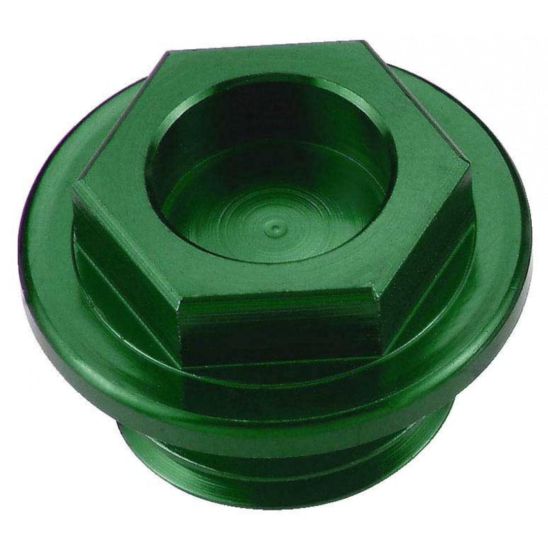 Accel CNC Green oil fill plug for Kawasaki KX 60 65 80 85 100 125 250 500, KDX 200 220 250, KLX 250 300, Honda CR 125/250/500, CRF 450R, Yamaha YZ 80/85/125/250, WRF 250/450, Blaster 200, YFZ 450, Raptor 350, Suzuki RM 60/65/100,