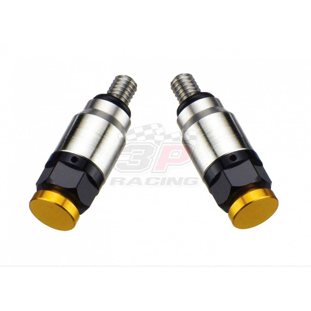 Accel pressure relief valve kit for WP, Marzzochi & Öhlins. Replacement of OEM fork bleeder screws on WP, Marzzochi & Öhlins forks. With M4xP0.7 screw thread. *Set of 2* -CNC machined. -Made from AL6061-T6 alloy. -Anodized. P/N: AC-PRV-02-GD