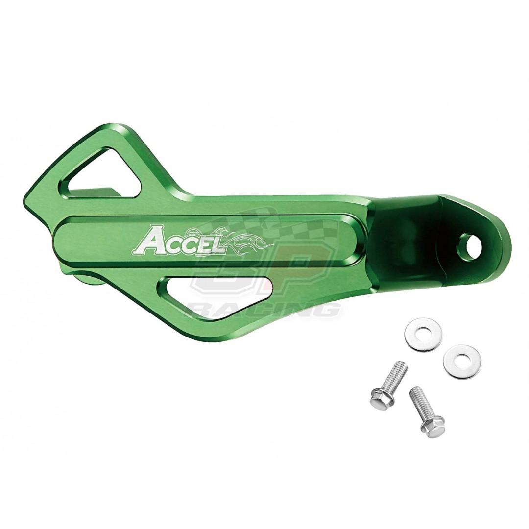 Accel CNC Green rear brake caliper protector Kawasaki OEM 55020-0458-6C, 55020-0397, 55020-0018 fits KXF 250 KXF250 KX250F KX 250F 2004-2020, KXF450 KXF 450 KX450F KX 450F 2006-2020, KLX450 KLX450R KLX 450R 2008-2019. P/N: AC-RBCG-301-GR