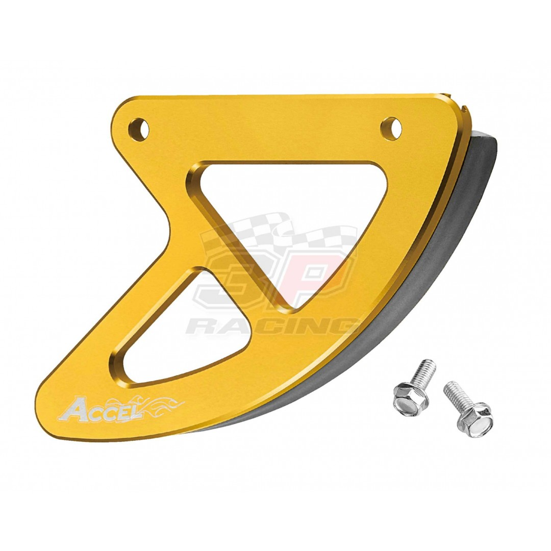 Accel CNC Gold rear brake disk protector of 2001-2019 Suzuki OEM 69231-37F12, 69231-37F20 fits RM 125, RM 250, RMZ 250, RMZ 450, RMX 450Z, RM125, RM250 2001-2012, RM-Z250 RMZ250 2007-2019, RM-Z450 RMZ450 2005-2019, RMX450Z RMX450 2010-2019. P/N: AC-RBDG-4