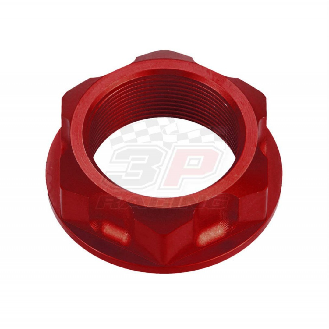 Accel CNC Anodized Red steering stem nut AC-SNB-02-RD for Honda CR80 CR85 CR125 CR250 CR450 CR480 CR500 CRM250 CRF150 CRF250L XR200 250R 250L 350 400 500 600 650R 650L, XL250 350, NTV650 CB650SC 700SC, VF500 1000, NX125 250. Honda OEM 90304-425-000, 90304