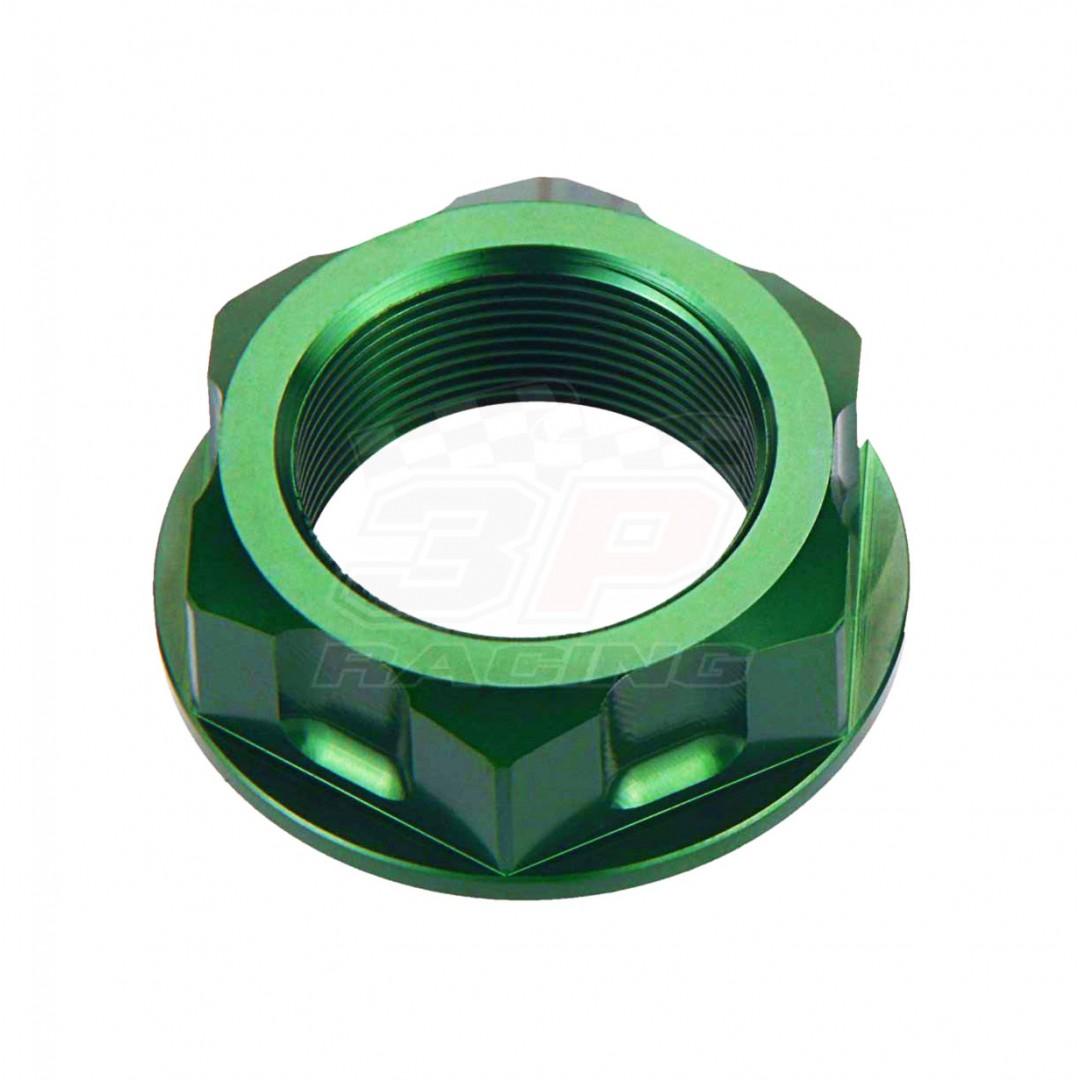 Accel CNC Anodized Green steering stem nut AC-SNB-03-GR for Kawasaki KX60 KX65 KX80 KX85 KX100 KX125 KX250 KX500 KDX80 KDX125 KDX200 KDX220 KDX250 KMX125 KMX200 KLR650 KLX110 KLX125 KLX140 KLX150 KLX250 KLX300 KLX650 VN900. Kawasaki OEM 92210-1521, 92210-