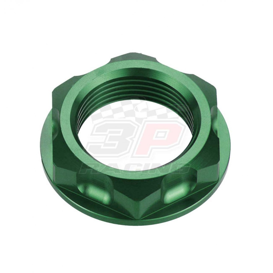 Accel CNC Anodized Green steering stem nut AC-SNB-04-GR for Kawasaki KX125 KX250 KX250F KXF250 KX450F KXF450 KLX450R, Suzuki RM125 RM250 RM-Z250 RMZ250 RMX250 DRZ250 DR-Z250 DR-Z400 DRZ400 GSX-R600 GSXR600 GSXR750. Kawasaki OEM 92210-0066, Suzuki OEM 5135