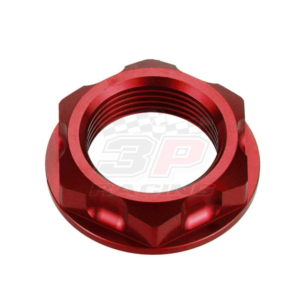 Accel CNC Anodized Red steering stem nut AC-SNB-04-RD for Kawasaki KX125 KX250 KX250F KXF250 KX450F KXF450 KLX450R, Suzuki RM125 RM250 RM-Z250 RMZ250 RMX250 DRZ250 DR-Z250 DR-Z400 DRZ400 GSX-R600 GSXR600 GSXR750. Kawasaki OEM 92210-0066, Suzuki OEM 51353-