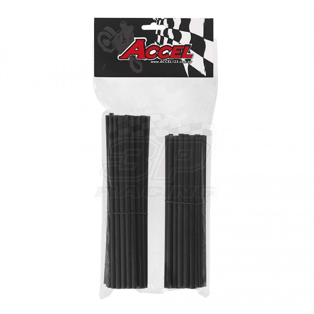 "Accel wheel spoke skins set 8.5"" and 7.5"" - Black AC-SS-101-BK For 18""-21"" rims"