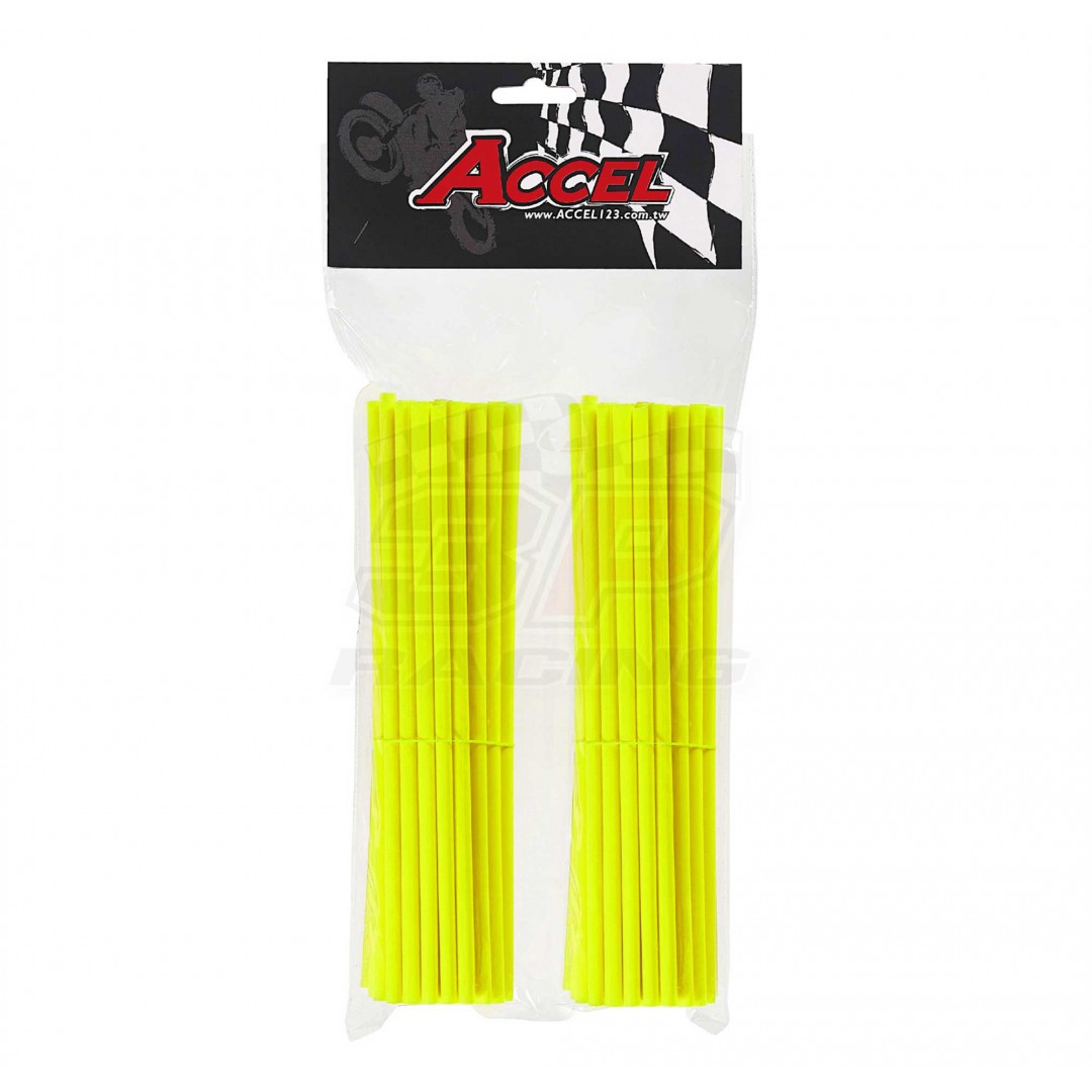 "Give your bike a refreshing stylish look with this coloured Neon-Yellow wheel spoke skin set ! Includes 76pieces of 8.5"" length skins. For 18""-21"" rims. Wheel spoke colored wraps, covers, sleeves, guards.P/N: AC-SS-102-NYL"