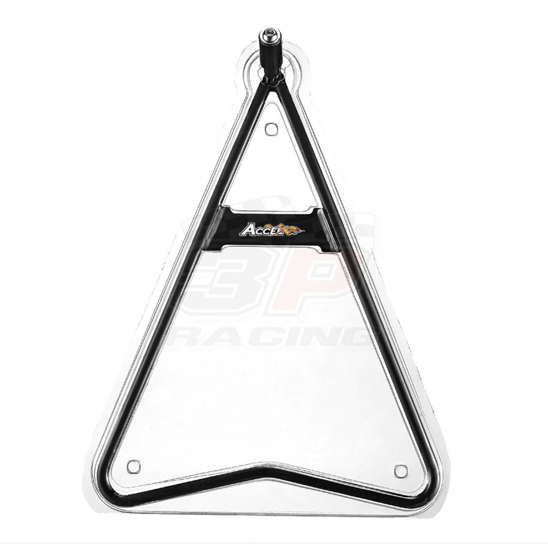 Accel dirt bike Super-moto steel triangle stand support with 32.5cm height. Keeps your bike standing, durable from high quality steel. Universal for all motocross, off-road motorcycles for rear axles with inner diameter 11mm, 14.5mm, 18mm. P/N: AC-STS-02