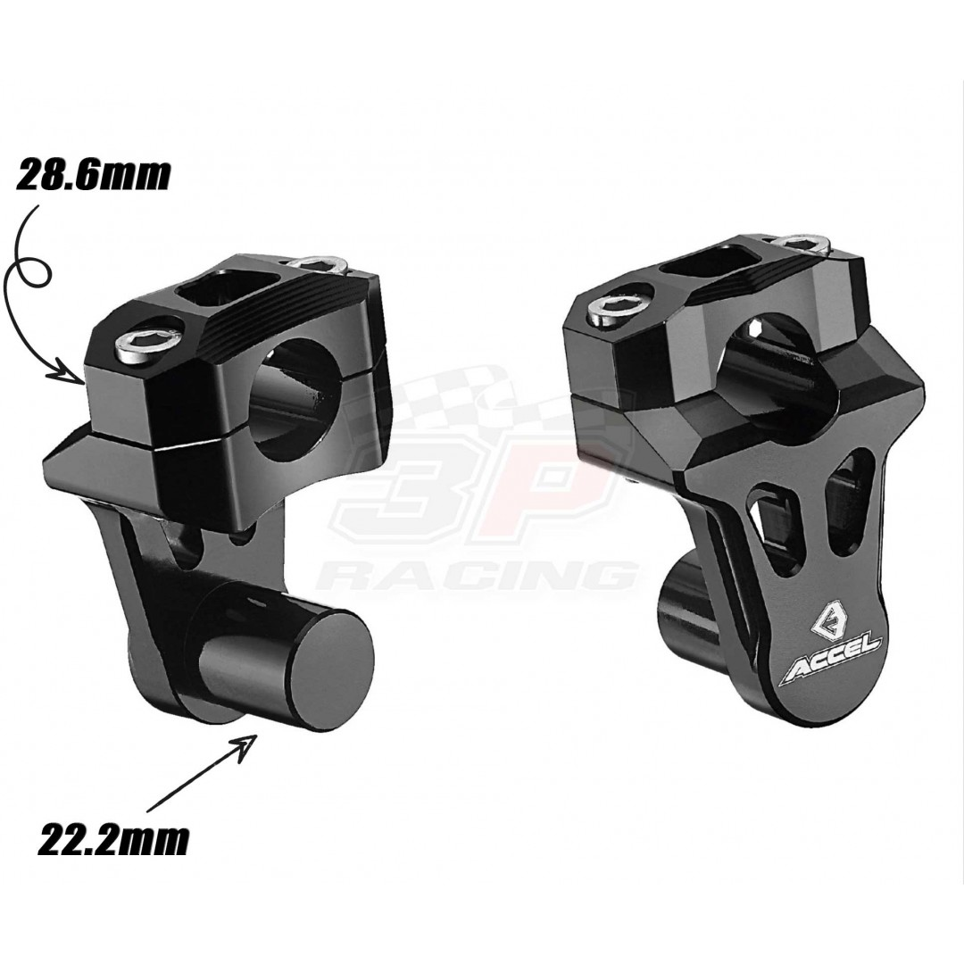 Accel CNC Universal handlebar riser kit which allows you to change the bar's angle, turn it closer to ride or further away. Turnable Bar mount 50mm height between mounts and fits 22.2mm bar base holes, converted to 28.6mm bar. P/N: AC-TBM-01-28.6